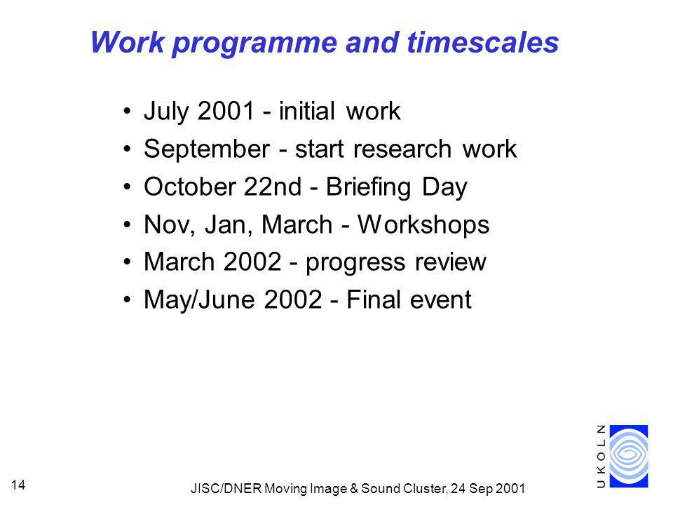 JISC/DNER Moving Image & Sound Cluster, 24 Sep 2001 14 Work programme and timescales July 2001 - initial work September - start research work October 22nd - Briefing Day Nov, Jan, March - Workshops March 2002 - progress review May/June 2002 - Final event