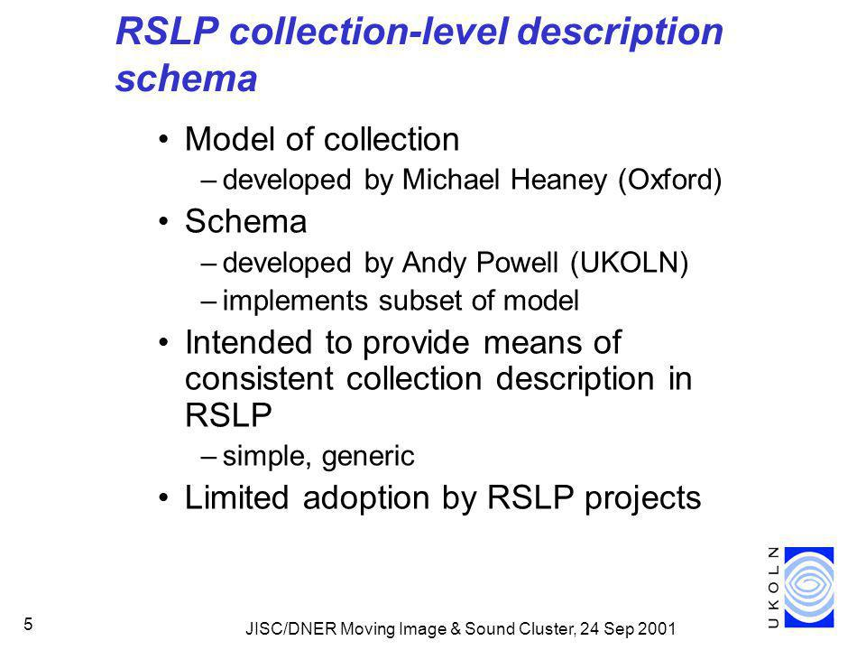 JISC/DNER Moving Image & Sound Cluster, 24 Sep 2001 5 RSLP collection-level description schema Model of collection –developed by Michael Heaney (Oxford) Schema –developed by Andy Powell (UKOLN) –implements subset of model Intended to provide means of consistent collection description in RSLP –simple, generic Limited adoption by RSLP projects