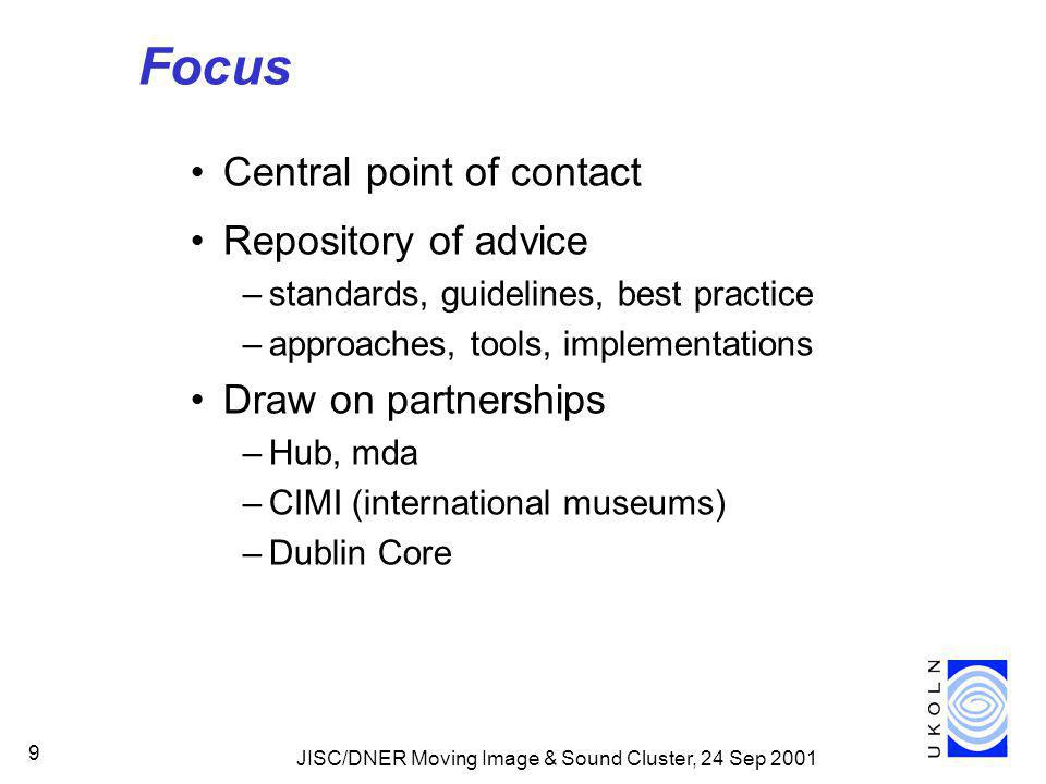 JISC/DNER Moving Image & Sound Cluster, 24 Sep 2001 9 Focus Central point of contact Repository of advice –standards, guidelines, best practice –approaches, tools, implementations Draw on partnerships –Hub, mda –CIMI (international museums) –Dublin Core