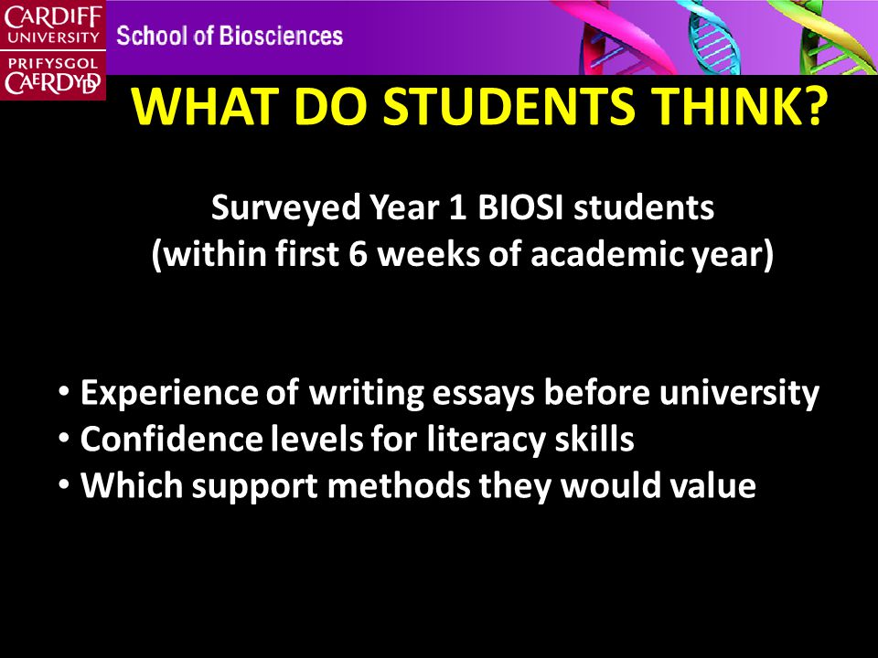 Surveyed Year 1 BIOSI students (within first 6 weeks of academic year) WHAT DO STUDENTS THINK.
