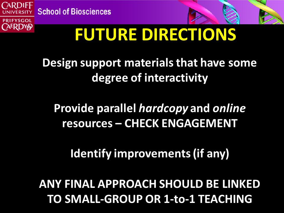 Design support materials that have some degree of interactivity Provide parallel hardcopy and online resources – CHECK ENGAGEMENT Identify improvements (if any) ANY FINAL APPROACH SHOULD BE LINKED TO SMALL-GROUP OR 1-to-1 TEACHING FUTURE DIRECTIONS