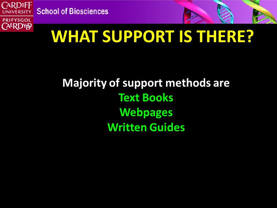 WHAT SUPPORT IS THERE Majority of support methods are Text Books Webpages Written Guides