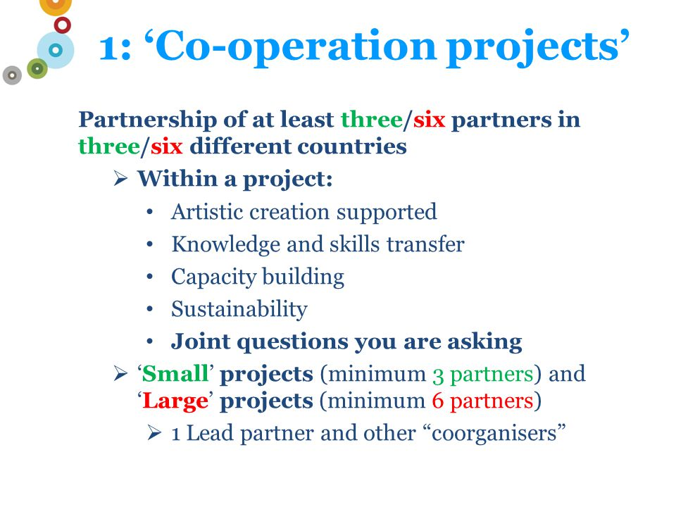 1: 'Co-operation projects' Partnership of at least three/six partners in three/six different countries  Within a project: Artistic creation supported Knowledge and skills transfer Capacity building Sustainability Joint questions you are asking  'Small' projects (minimum 3 partners) and 'Large' projects (minimum 6 partners)  1 Lead partner and other coorganisers