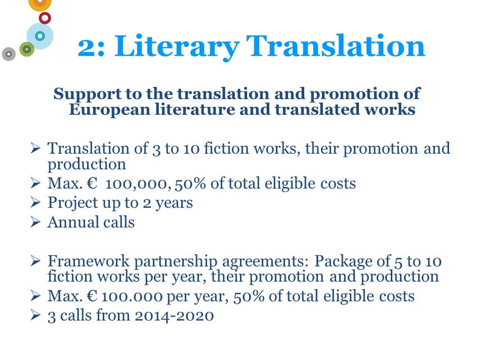 Support to the translation and promotion of European literature and translated works  Translation of 3 to 10 fiction works, their promotion and production  Max.