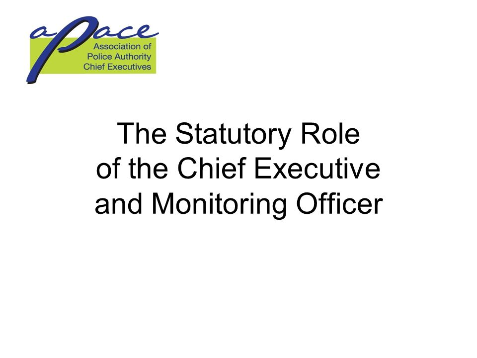 The Statutory Role of the Chief Executive and Monitoring Officer