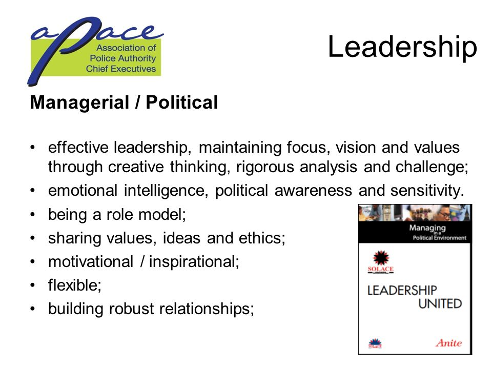 Leadership Managerial / Political effective leadership, maintaining focus, vision and values through creative thinking, rigorous analysis and challenge; emotional intelligence, political awareness and sensitivity.