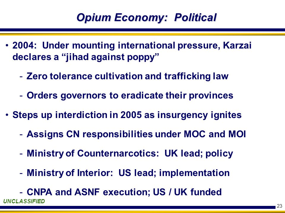 23 Opium Economy: Political UNCLASSIFIED 2004: Under mounting international pressure, Karzai declares a jihad against poppy -Zero tolerance cultivation and trafficking law -Orders governors to eradicate their provinces Steps up interdiction in 2005 as insurgency ignites -Assigns CN responsibilities under MOC and MOI -Ministry of Counternarcotics: UK lead; policy -Ministry of Interior: US lead; implementation -CNPA and ASNF execution; US / UK funded