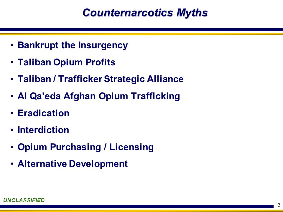 3 Counternarcotics Myths Bankrupt the Insurgency Taliban Opium Profits Taliban / Trafficker Strategic Alliance Al Qa'eda Afghan Opium Trafficking Eradication Interdiction Opium Purchasing / Licensing Alternative Development UNCLASSIFIED