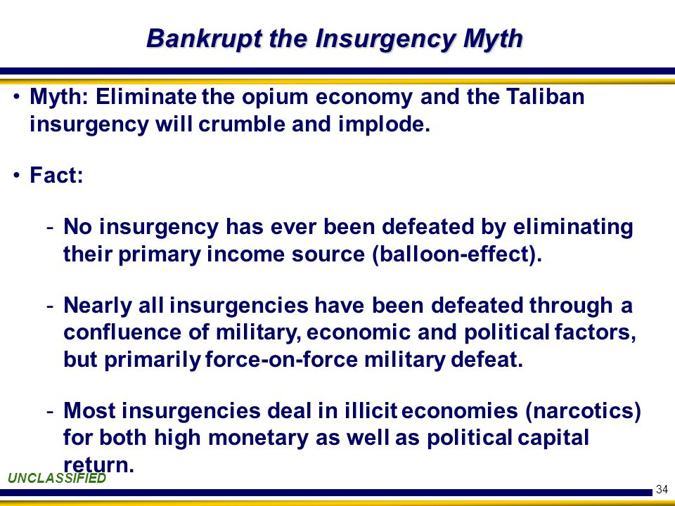 34 Bankrupt the Insurgency Myth UNCLASSIFIED Myth: Eliminate the opium economy and the Taliban insurgency will crumble and implode.