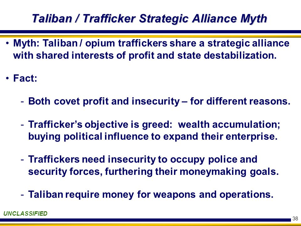 38 Taliban / Trafficker Strategic Alliance Myth UNCLASSIFIED Myth: Taliban / opium traffickers share a strategic alliance with shared interests of profit and state destabilization.