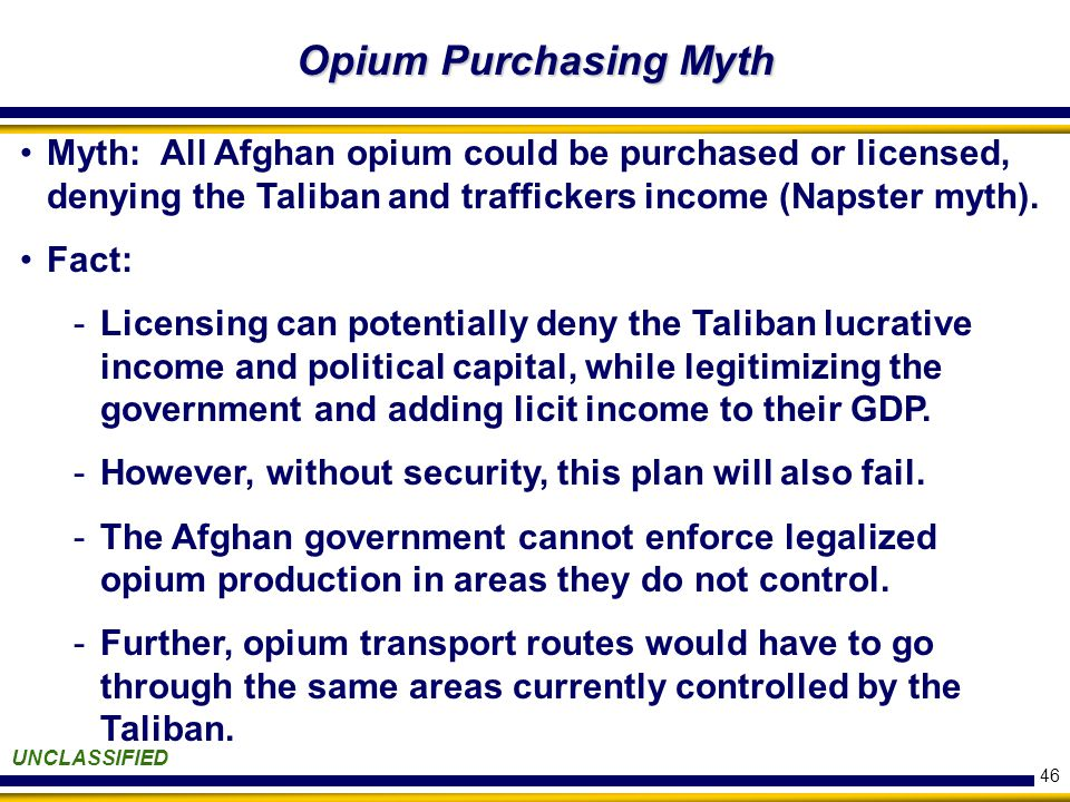 46 Opium Purchasing Myth Opium Purchasing Myth UNCLASSIFIED Myth: All Afghan opium could be purchased or licensed, denying the Taliban and traffickers income (Napster myth).