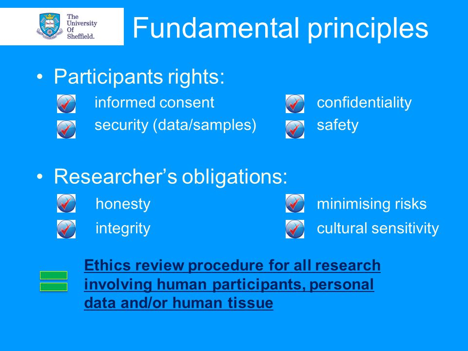 Fundamental principles Participants rights: informed consent confidentiality security (data/samples) safety Researcher's obligations: honestyminimising risks integritycultural sensitivity Ethics review procedure for all research involving human participants, personal data and/or human tissue