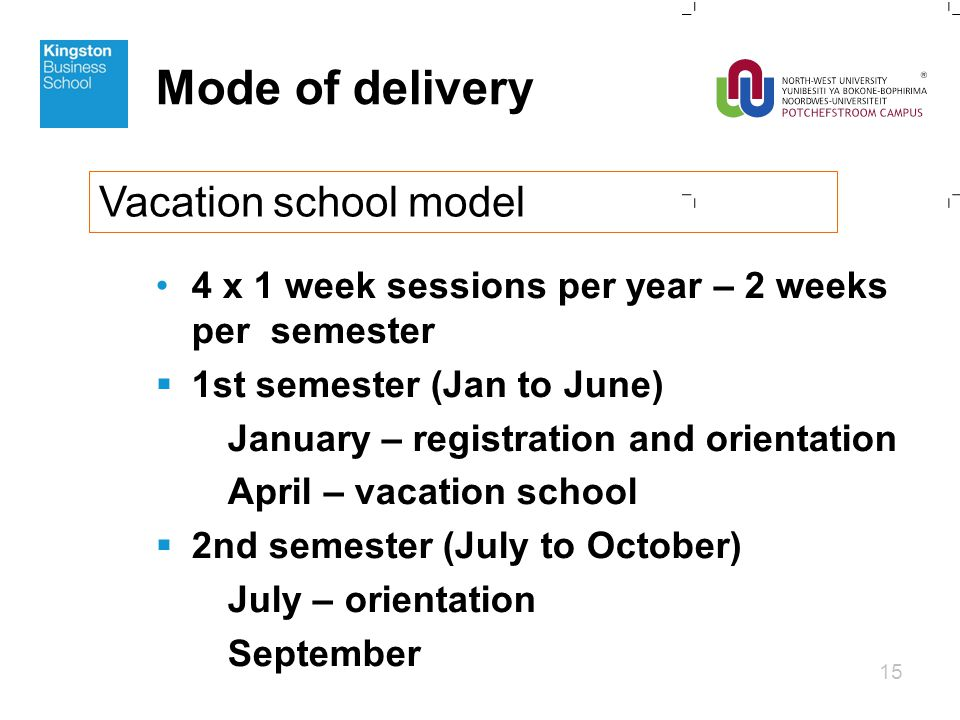 Mode of delivery 4 x 1 week sessions per year – 2 weeks per semester  1st semester (Jan to June) January – registration and orientation April – vacation school  2nd semester (July to October) July – orientation September 15 Vacation school model