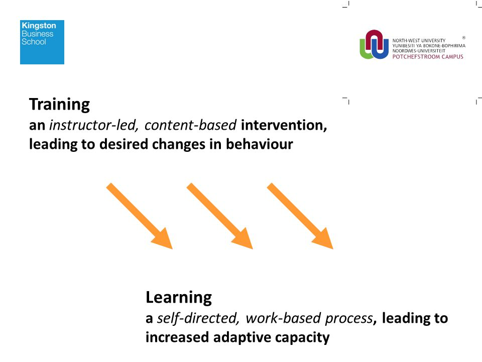 Training an instructor-led, content-based intervention, leading to desired changes in behaviour Learning a self-directed, work-based process, leading to increased adaptive capacity