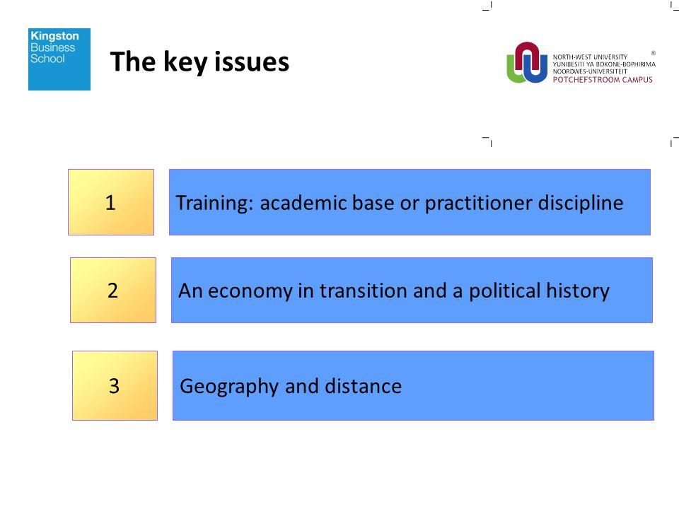 The key issues Training: academic base or practitioner discipline 1 An economy in transition and a political history 2 Geography and distance 3