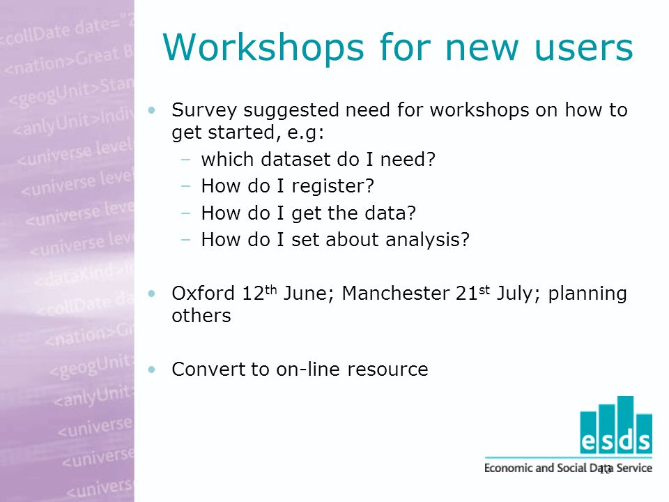 13 Workshops for new users Survey suggested need for workshops on how to get started, e.g: –which dataset do I need.