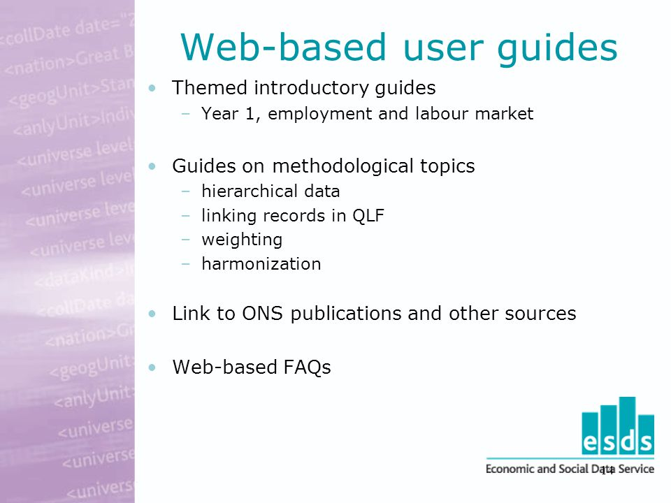 14 Web-based user guides Themed introductory guides –Year 1, employment and labour market Guides on methodological topics –hierarchical data –linking records in QLF –weighting –harmonization Link to ONS publications and other sources Web-based FAQs