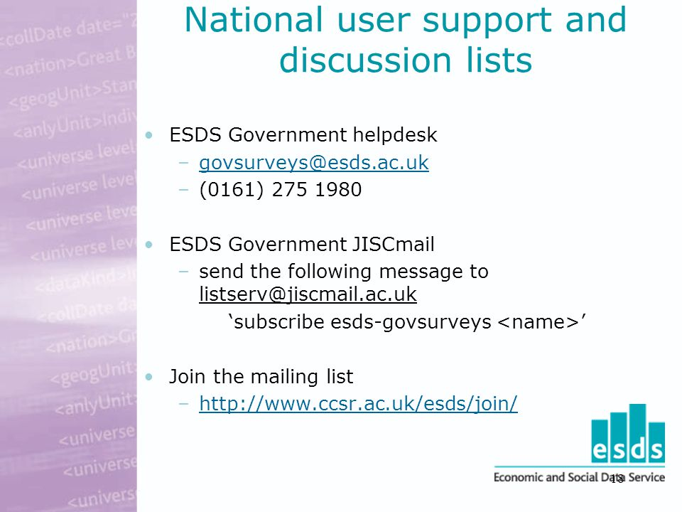 18 National user support and discussion lists ESDS Government helpdesk –govsurveys@esds.ac.ukgovsurveys@esds.ac.uk –(0161) 275 1980 ESDS Government JISCmail –send the following message to listserv@jiscmail.ac.uk 'subscribe esds-govsurveys ' Join the mailing list –http://www.ccsr.ac.uk/esds/join/http://www.ccsr.ac.uk/esds/join/