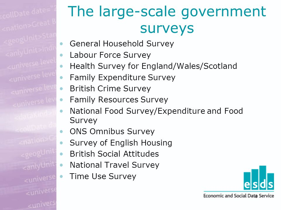 4 The large-scale government surveys General Household Survey Labour Force Survey Health Survey for England/Wales/Scotland Family Expenditure Survey British Crime Survey Family Resources Survey National Food Survey/Expenditure and Food Survey ONS Omnibus Survey Survey of English Housing British Social Attitudes National Travel Survey Time Use Survey