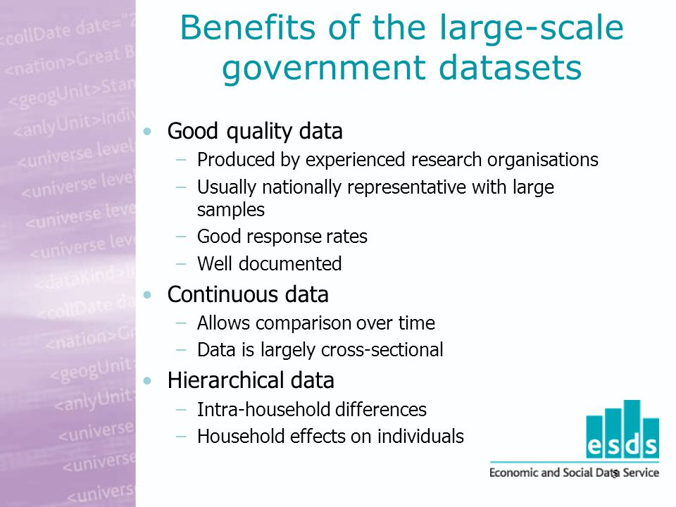 5 Benefits of the large-scale government datasets Good quality data –Produced by experienced research organisations –Usually nationally representative with large samples –Good response rates –Well documented Continuous data –Allows comparison over time –Data is largely cross-sectional Hierarchical data –Intra-household differences –Household effects on individuals