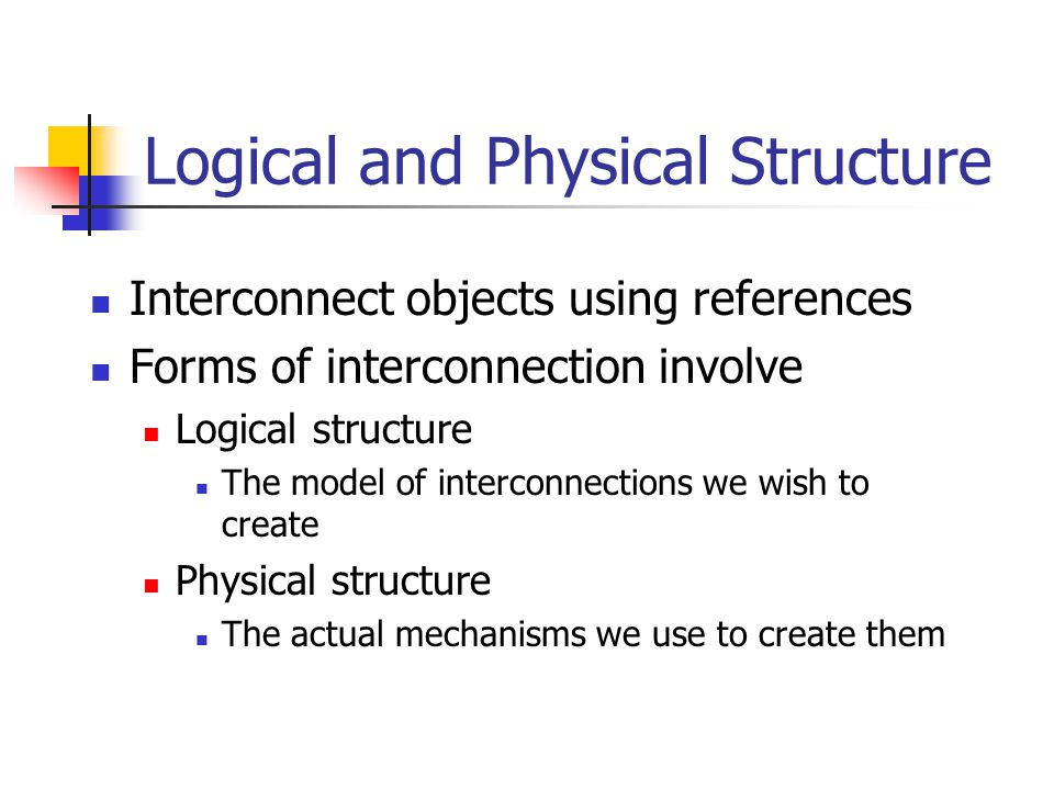 Logical and Physical Structure Interconnect objects using references Forms of interconnection involve Logical structure The model of interconnections we wish to create Physical structure The actual mechanisms we use to create them