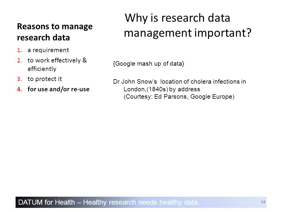 DATUM for Health – Healthy research needs healthy data 14 Reasons to manage research data Why is research data management important.
