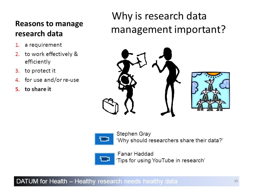 DATUM for Health – Healthy research needs healthy data 15 Reasons to manage research data Why is research data management important.