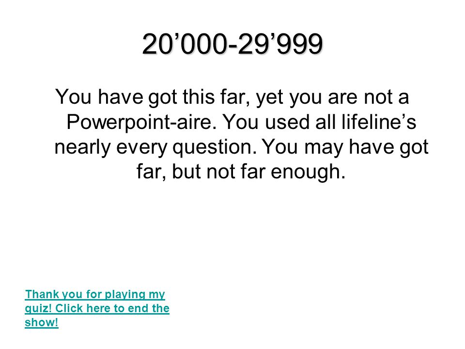 10'000-19'999 You have got this far, yet you are not a Powerpoint-aire.