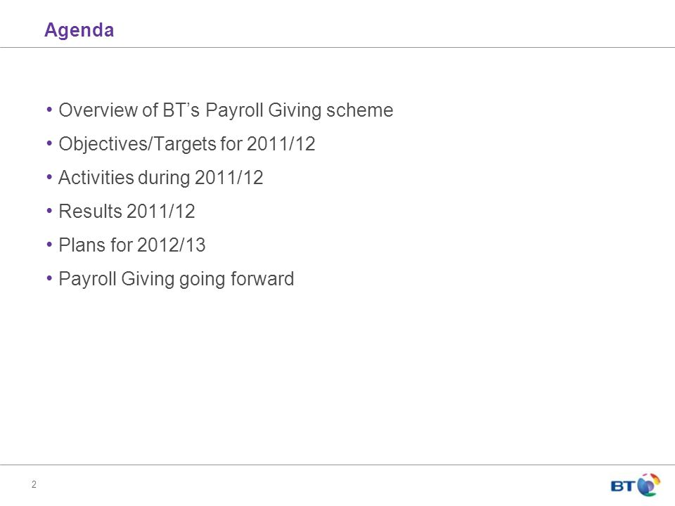 2 Overview of BT's Payroll Giving scheme Objectives/Targets for 2011/12 Activities during 2011/12 Results 2011/12 Plans for 2012/13 Payroll Giving going forward Agenda