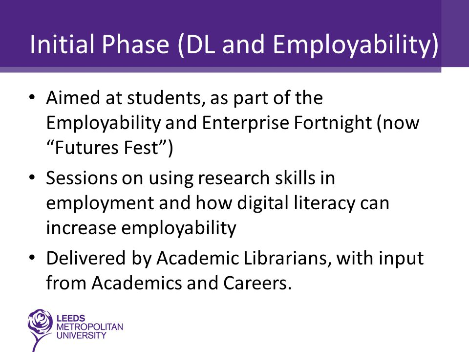 Initial Phase (DL and Employability) Aimed at students, as part of the Employability and Enterprise Fortnight (now Futures Fest ) Sessions on using research skills in employment and how digital literacy can increase employability Delivered by Academic Librarians, with input from Academics and Careers.