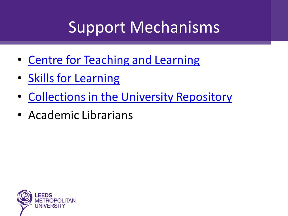 Support Mechanisms Centre for Teaching and Learning Skills for Learning Collections in the University Repository Academic Librarians