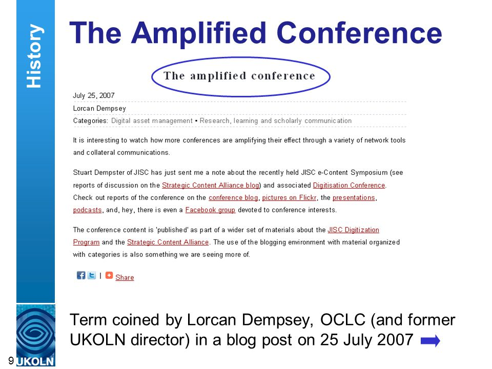 The Amplified Conference Term coined by Lorcan Dempsey, OCLC (and former UKOLN director) in a blog post on 25 July 2007 9 History