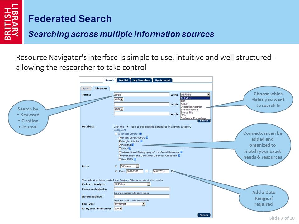 Federated Search Searching across multiple information sources Connectors can be added and organized to match your exact needs & resources Search by Keyword Citation Journal Resource Navigator s interface is simple to use, intuitive and well structured - allowing the researcher to take control Choose which fields you want to search in Add a Date Range, if required Slide 3 of 10