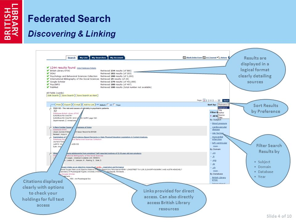 Federated Search Discovering & Linking Results are displayed in a logical format clearly detailing sources Citations displayed clearly with options to check your holdings for full text access Links provided for direct access.