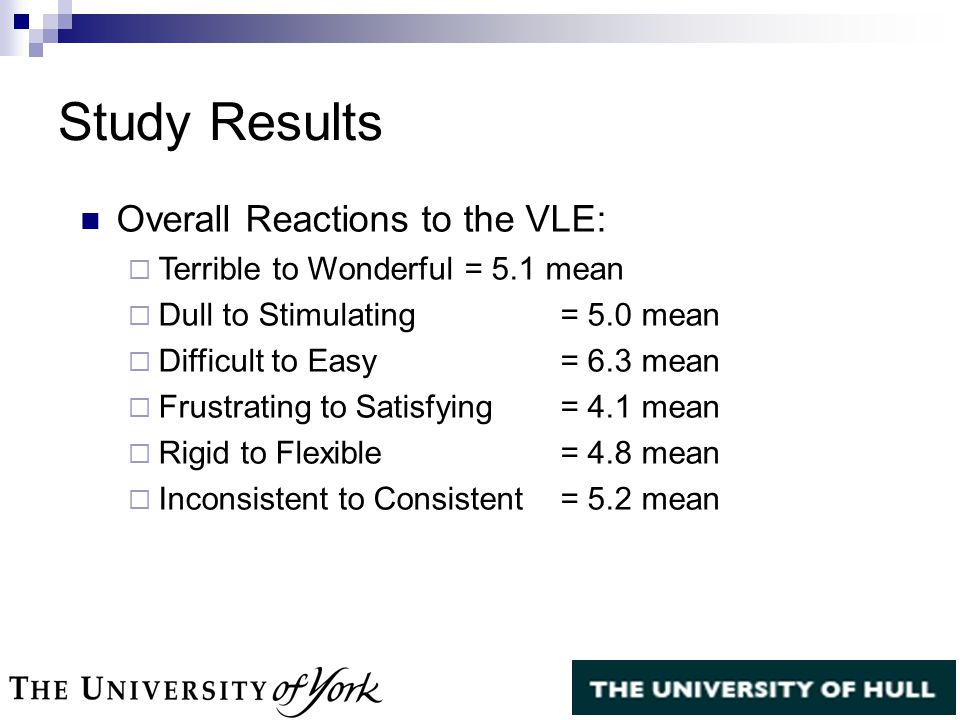 Overall Reactions to the VLE:  Terrible to Wonderful = 5.1 mean  Dull to Stimulating = 5.0 mean  Difficult to Easy = 6.3 mean  Frustrating to Satisfying = 4.1 mean  Rigid to Flexible = 4.8 mean  Inconsistent to Consistent = 5.2 mean Study Results