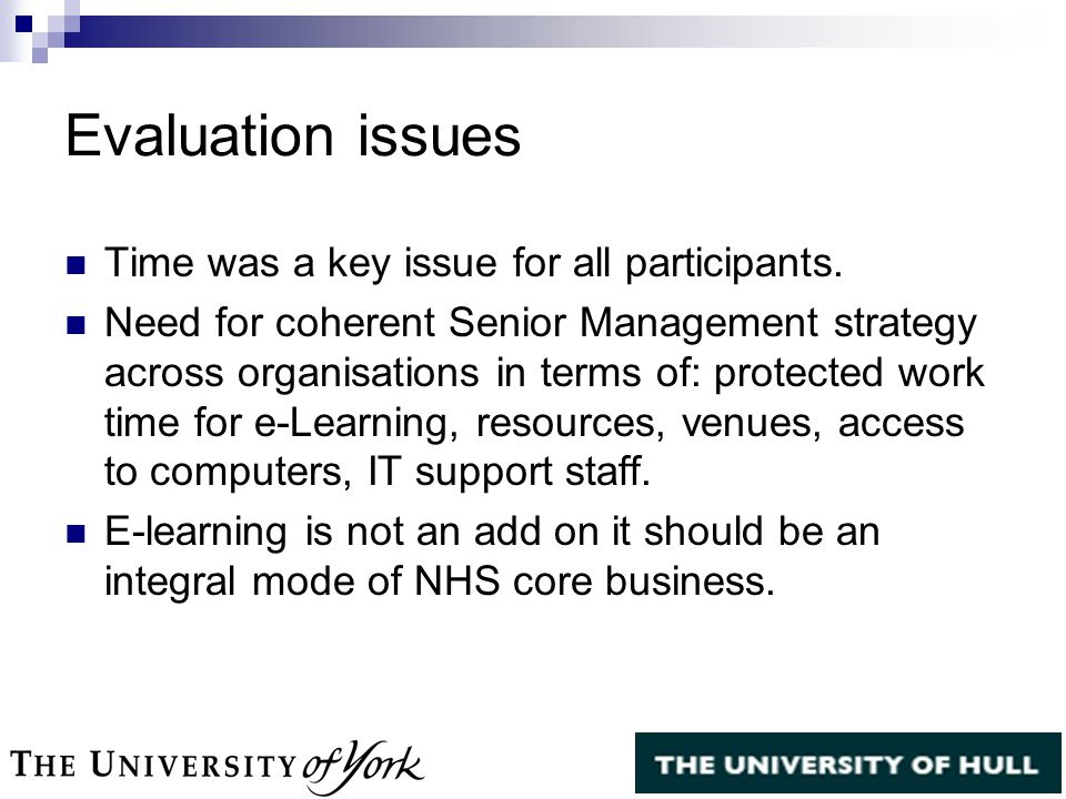 Evaluation issues Time was a key issue for all participants.