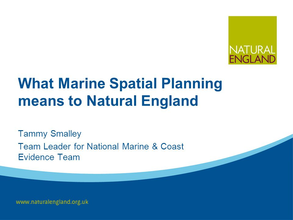 What Marine Spatial Planning means to Natural England Tammy Smalley Team Leader for National Marine & Coast Evidence Team