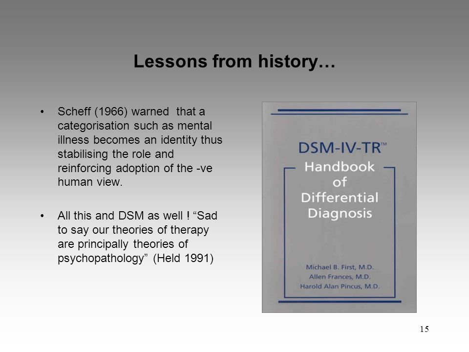 15 Lessons from history… Scheff (1966) warned that a categorisation such as mental illness becomes an identity thus stabilising the role and reinforcing adoption of the -ve human view.