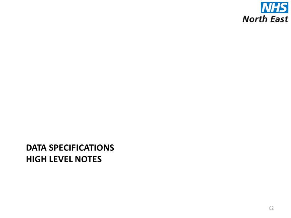 DATA SPECIFICATIONS HIGH LEVEL NOTES 62