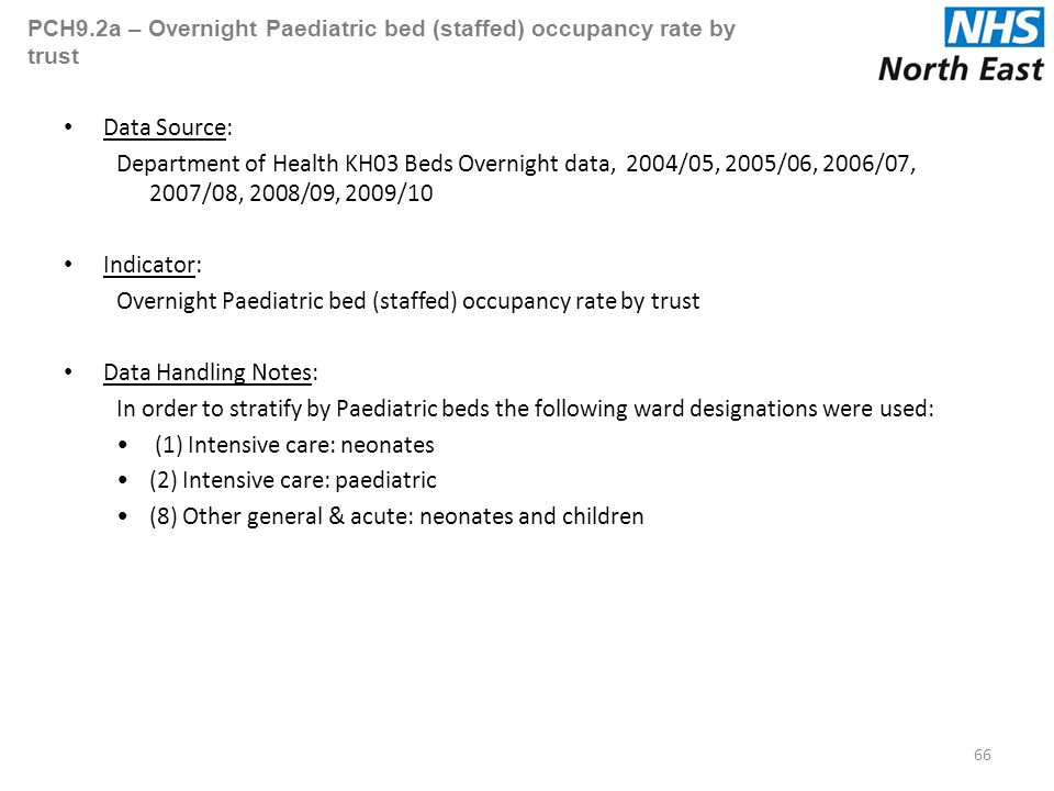 PCH9.2a – Overnight Paediatric bed (staffed) occupancy rate by trust Data Source: Department of Health KH03 Beds Overnight data, 2004/05, 2005/06, 2006/07, 2007/08, 2008/09, 2009/10 Indicator: Overnight Paediatric bed (staffed) occupancy rate by trust Data Handling Notes: In order to stratify by Paediatric beds the following ward designations were used: (1) Intensive care: neonates (2) Intensive care: paediatric (8) Other general & acute: neonates and children 66