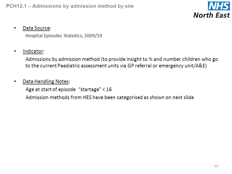 PCH12.1 – Admissions by admission method by site Data Source: Hospital Episodes Statistics, 2009/10 Indicator: Admissions by admission method (to provide insight to % and number children who go to the current Paediatric assessment units via GP referral or emergency unit/A&E) Data Handling Notes: Age at start of episode startage < 16 Admission methods from HES have been categorised as shown on next slide 69