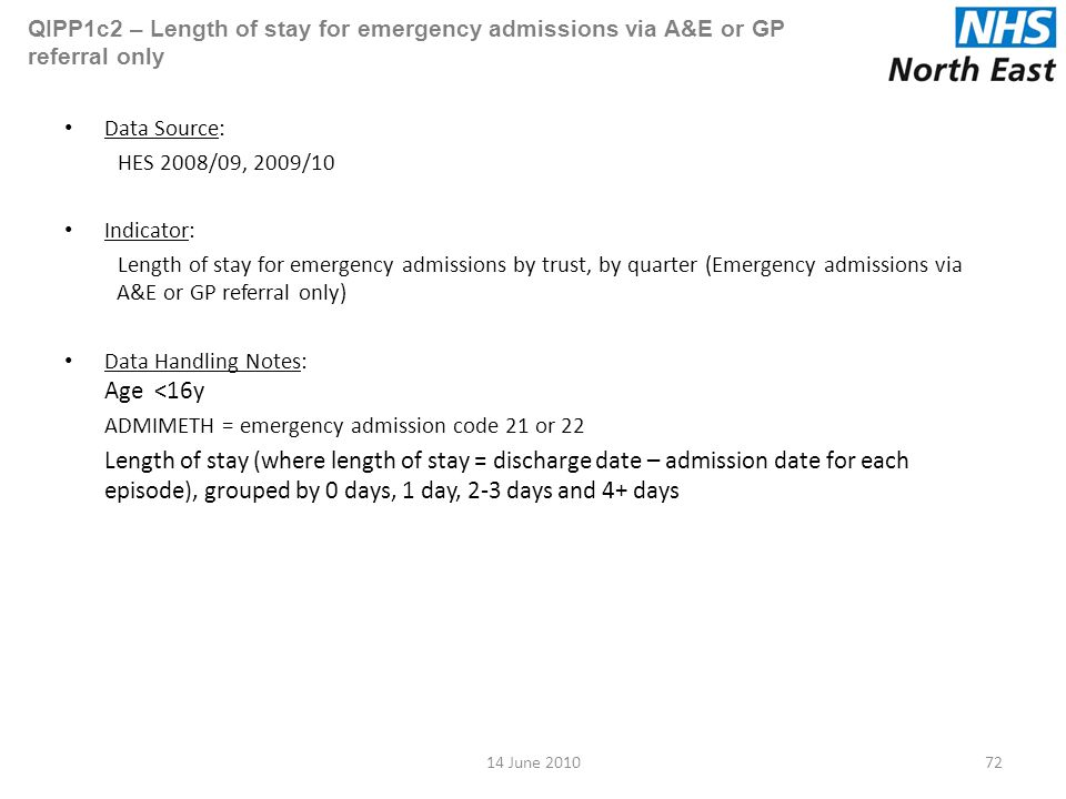 QIPP1c2 – Length of stay for emergency admissions via A&E or GP referral only Data Source: HES 2008/09, 2009/10 Indicator: Length of stay for emergency admissions by trust, by quarter (Emergency admissions via A&E or GP referral only) Data Handling Notes: Age <16y ADMIMETH = emergency admission code 21 or 22 Length of stay (where length of stay = discharge date – admission date for each episode), grouped by 0 days, 1 day, 2-3 days and 4+ days 7214 June 2010