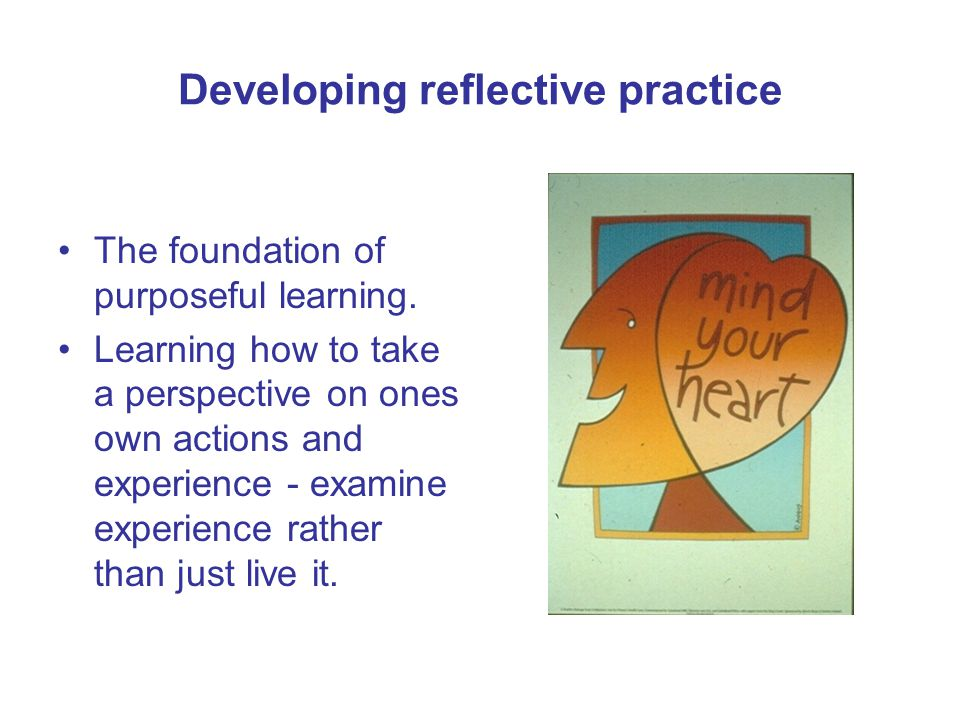 Developing reflective practice The foundation of purposeful learning.