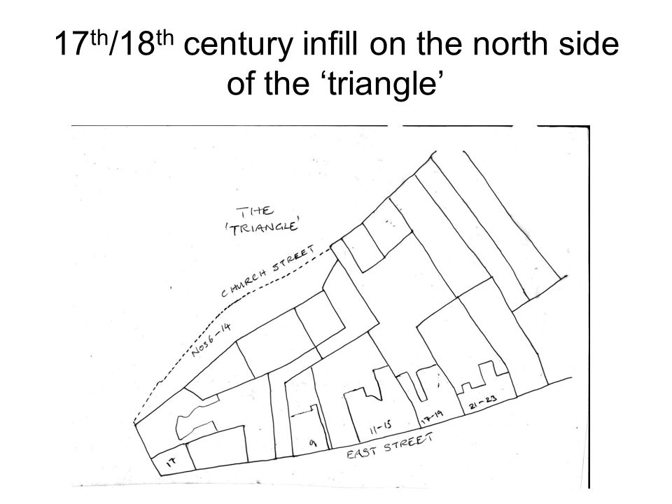 17 th /18 th century infill on the north side of the 'triangle'
