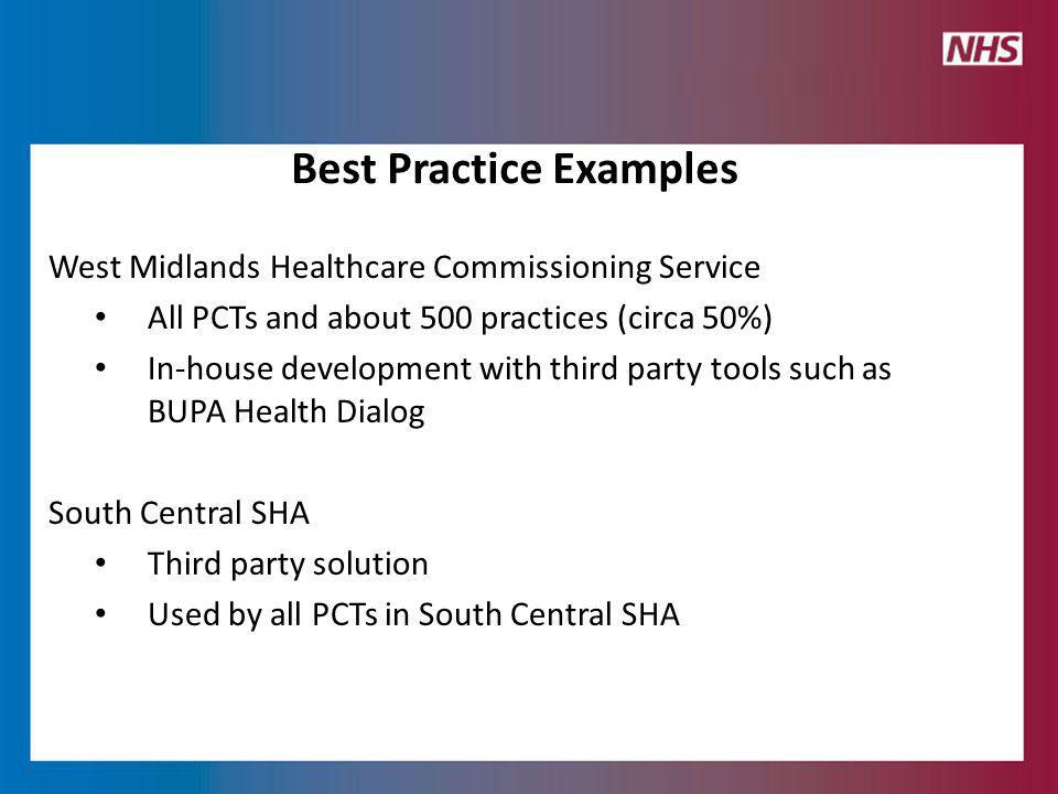 West Midlands Healthcare Commissioning Service All PCTs and about 500 practices (circa 50%) In-house development with third party tools such as BUPA Health Dialog South Central SHA Third party solution Used by all PCTs in South Central SHA Best Practice Examples
