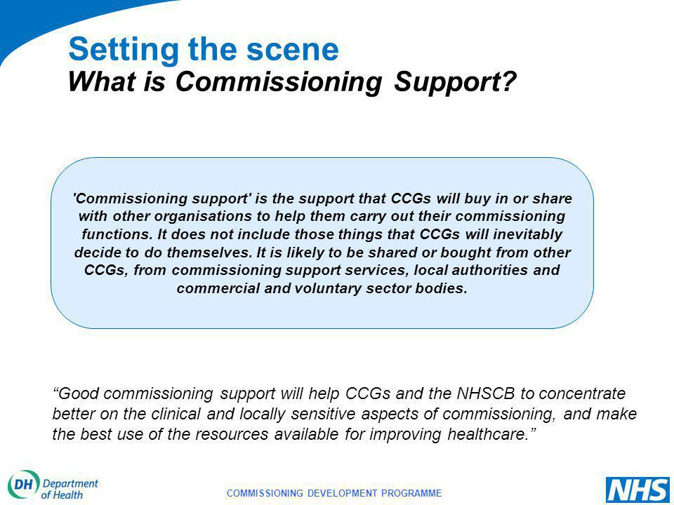 COMMISSIONING DEVELOPMENT PROGRAMME Setting the scene Commissioning support is the support that CCGs will buy in or share with other organisations to help them carry out their commissioning functions.