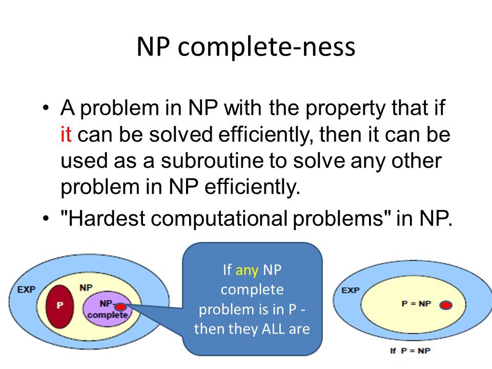 NP complete-ness A problem in NP with the property that if it can be solved efficiently, then it can be used as a subroutine to solve any other problem in NP efficiently.