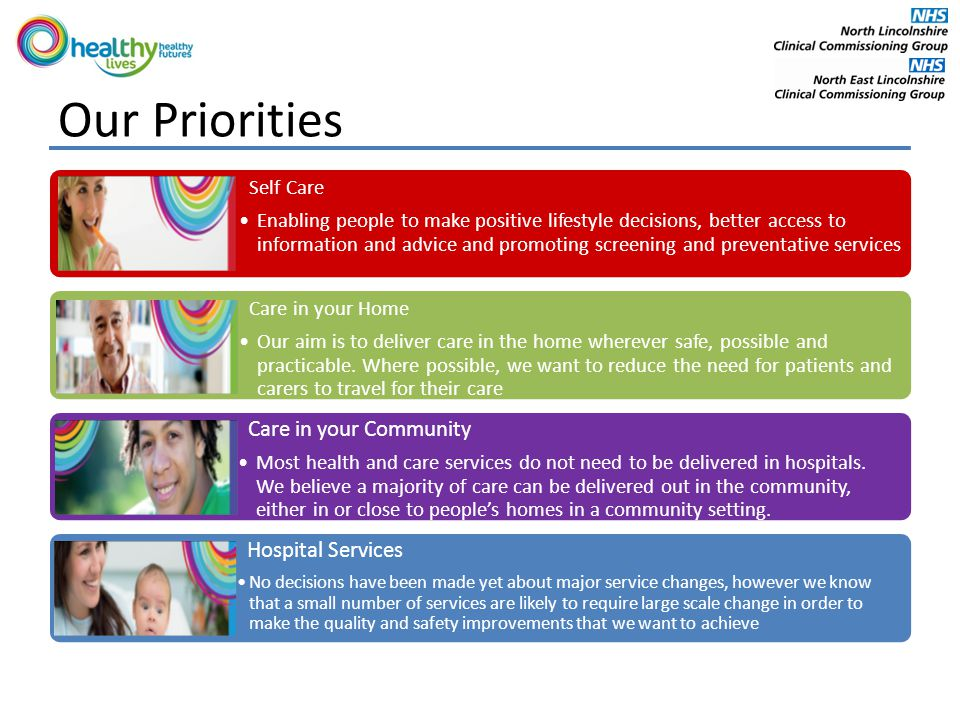 Our Priorities Self Care Enabling people to make positive lifestyle decisions, better access to information and advice and promoting screening and preventative services Care in your Home Our aim is to deliver care in the home wherever safe, possible and practicable.