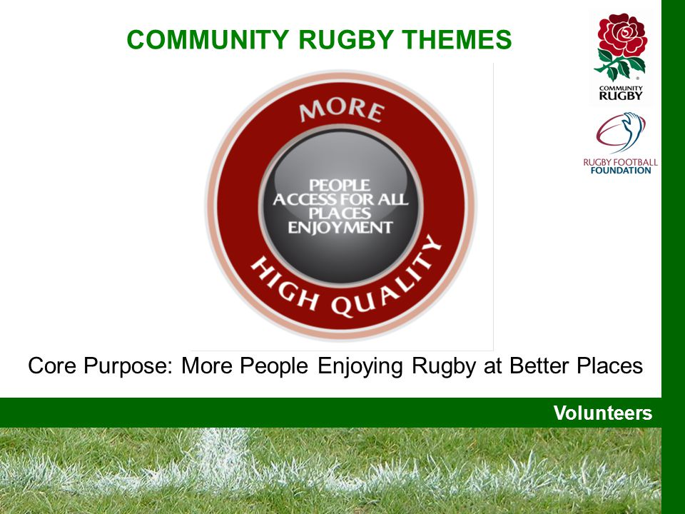 Volunteers Core Purpose: More People Enjoying Rugby at Better Places COMMUNITY RUGBY THEMES