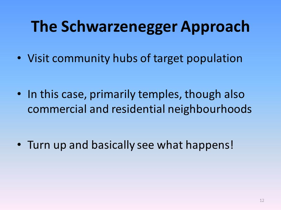 The Schwarzenegger Approach Visit community hubs of target population In this case, primarily temples, though also commercial and residential neighbourhoods Turn up and basically see what happens.